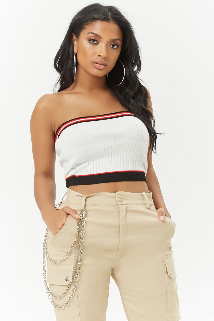 1ef350534c Forever 21 Women s Striped Knit Tube Top in Red - Lyst