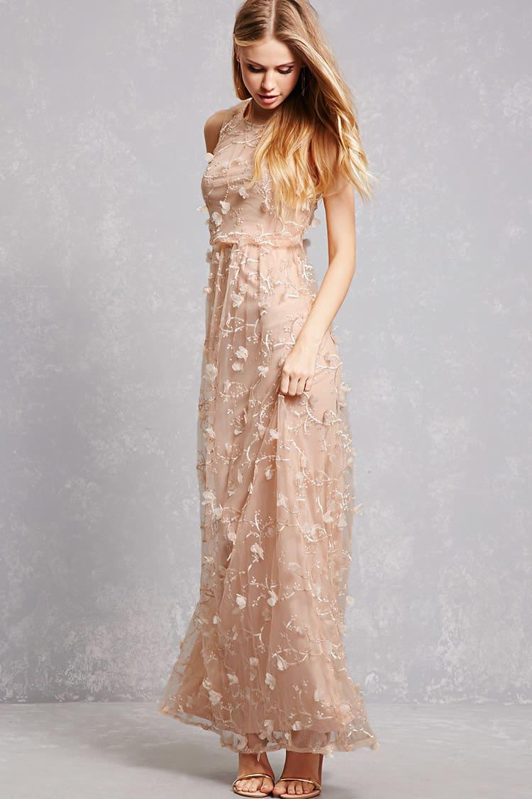 Lyst - Forever 21 Cherry Blossom Chiffon Gown