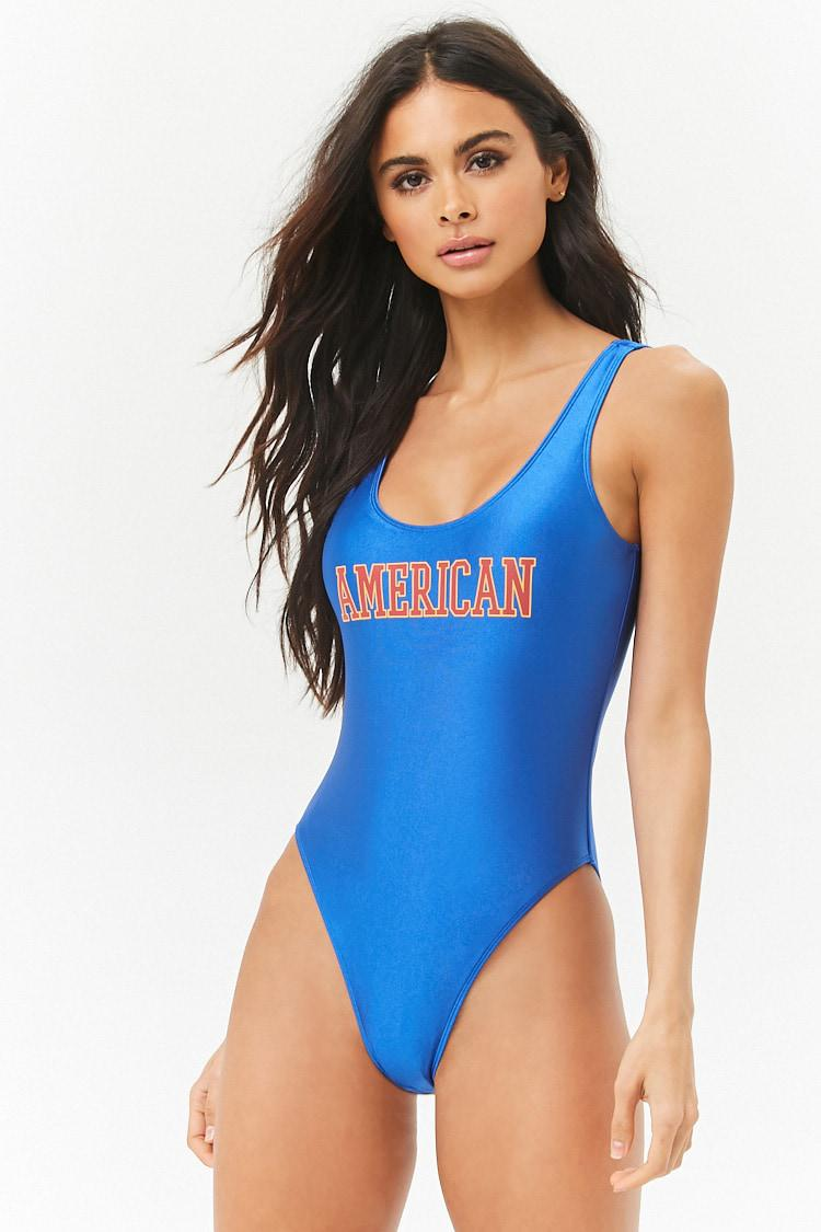 77d1623ea905b Lyst - Forever 21 American Graphic One-piece Swimsuit in Blue