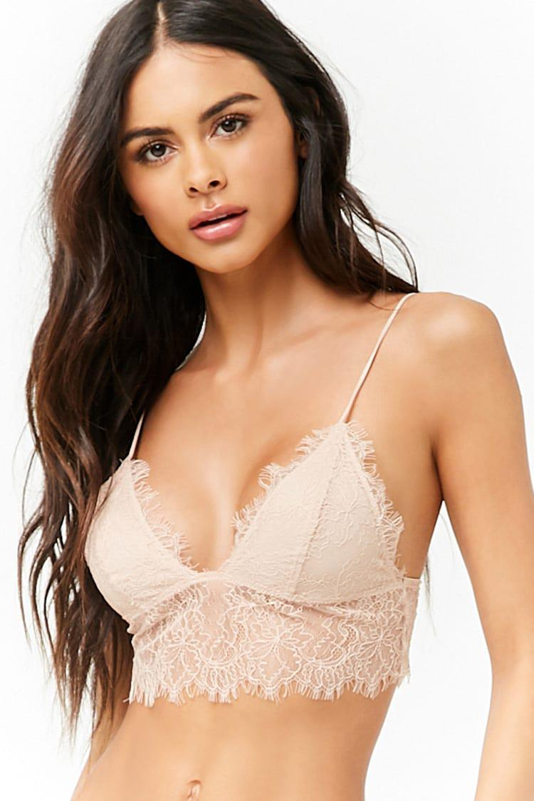 81ab8d6d30749e Lyst - Forever 21 Chantilly Lace Bralette in Natural