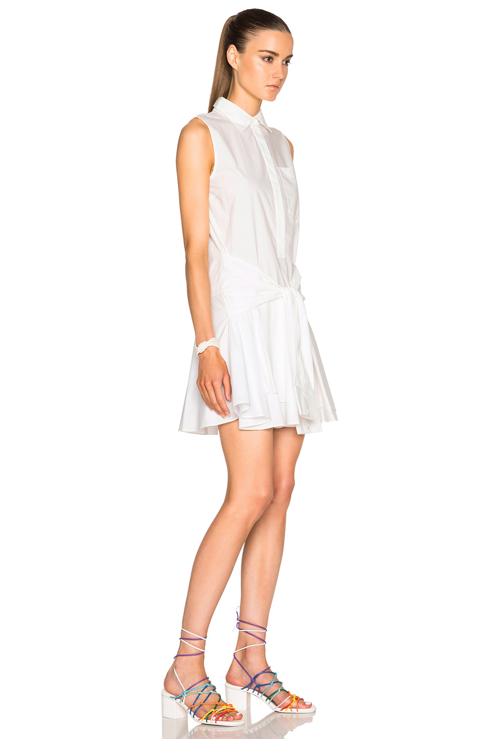 10 crosby derek lam cotton poplin dress in white lyst for Derek lam 10 crosby shirt dress