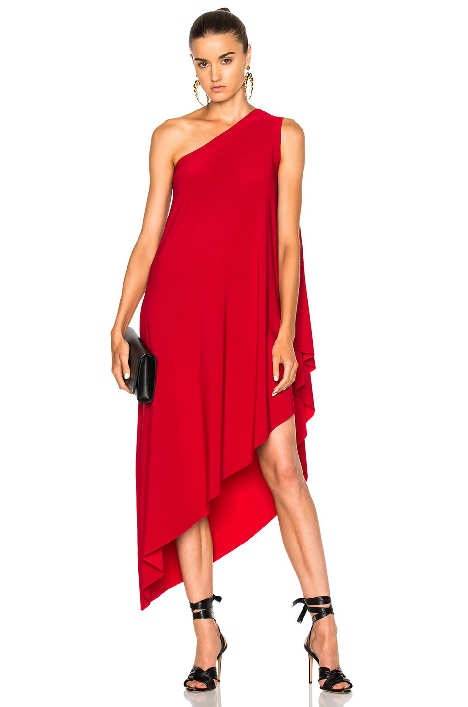 6fb09e5a08498 Lyst - Norma Kamali One Shoulder Diagonal Dress in Red