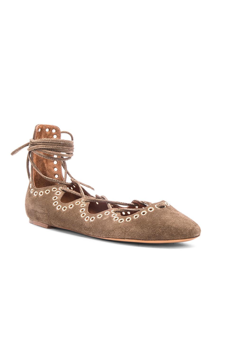 Buy Cheap Amazing Price Clearance Online Isabel Marant Leo Eyelet Velvet Flats in Peach Buy Cheap Reliable L41HCyxGM8