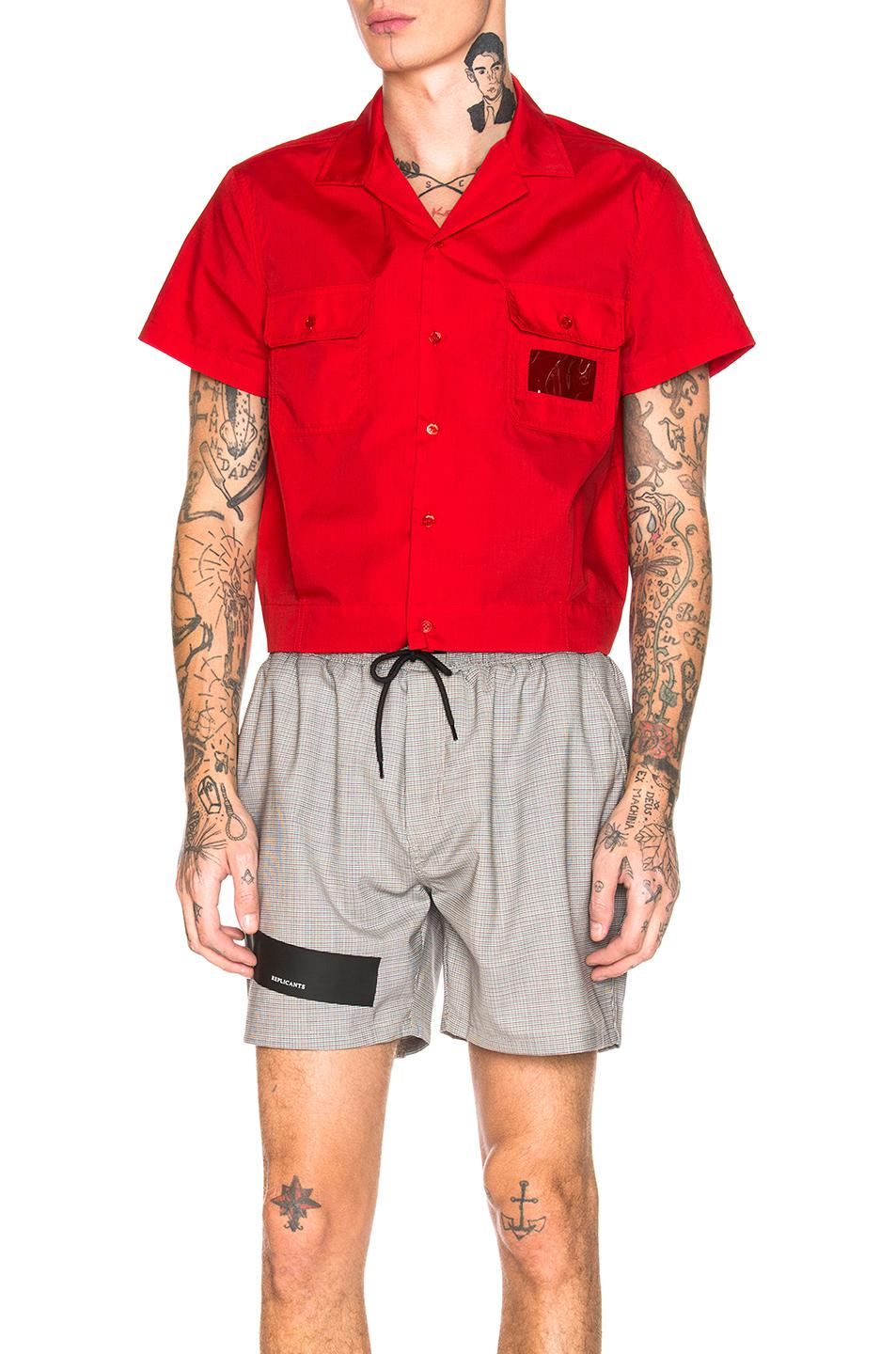 d8e67145db01be Lyst - Raf Simons Cropped Shirt in Red