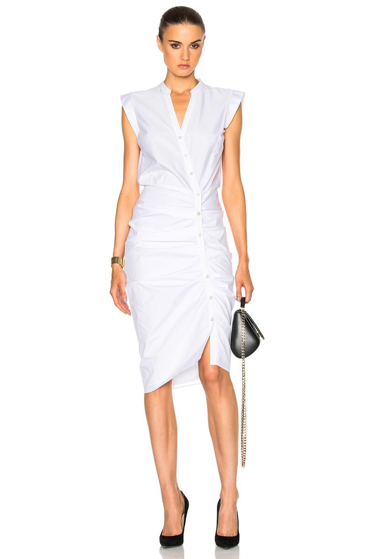 7304c4b1b28 Veronica Beard Ruched Shirt Dress In White in White - Lyst