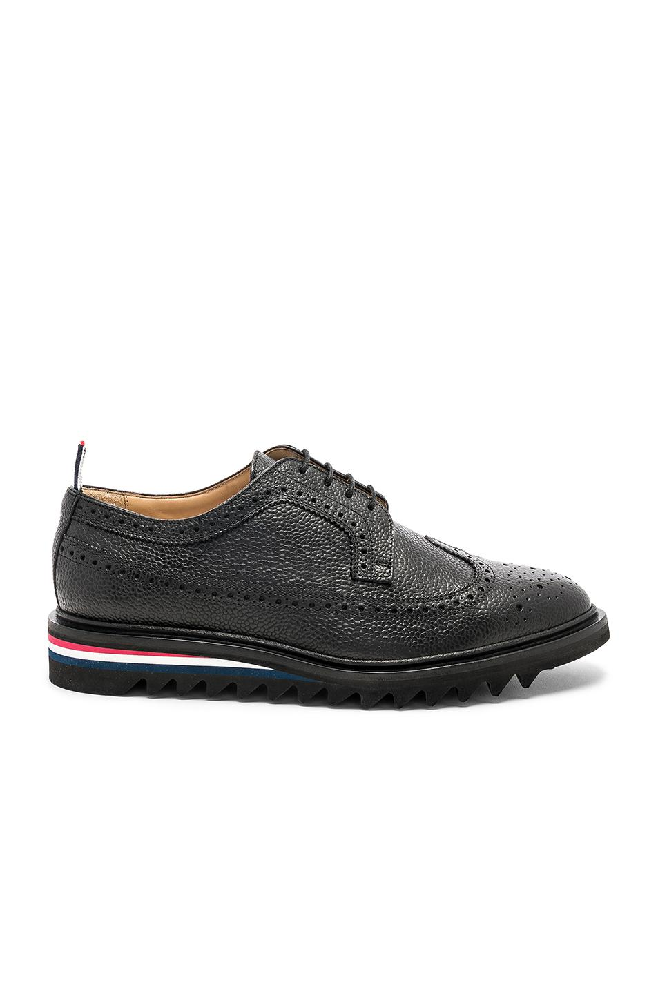Thom Browne Pebble Grain Classic Longwing Brogue with Threaded Rubber Sole in .