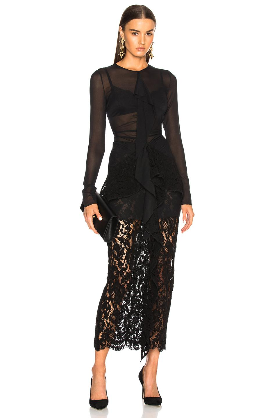 Long Sleeve Corded Lace Dress - Black Proenza Schouler mRpdj