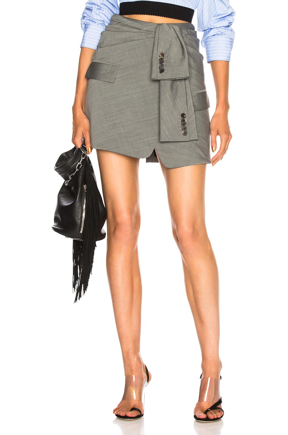 05634f72a Alexander Wang Asymmetric Tie Front Skirt in Gray - Lyst