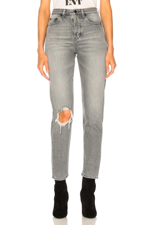 c8081fb746 Saint Laurent Slim Fit Knee Hole Jeans in Gray - Lyst