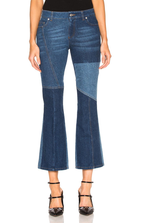 alexander mcqueen patchwork cropped flare jeans in blue lyst. Black Bedroom Furniture Sets. Home Design Ideas
