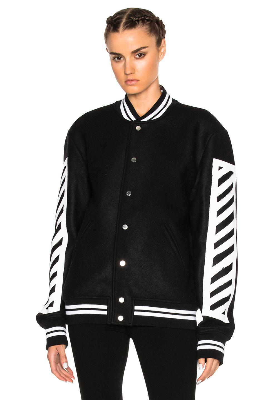 lyst off white c o virgil abloh logo print varsity jacket in black. Black Bedroom Furniture Sets. Home Design Ideas