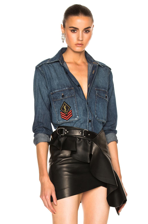 Saint laurent denim shirt with patch in blue lyst for Saint laurent shirt womens