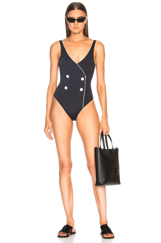 aa6cdaee15033 Solid   Striped Juliette Swimsuit in Black - Lyst