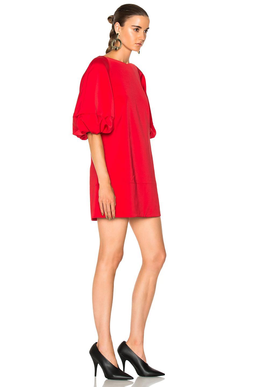 f7500342c830 Tibi Balloon Sleeve Mini Dress in Red - Lyst