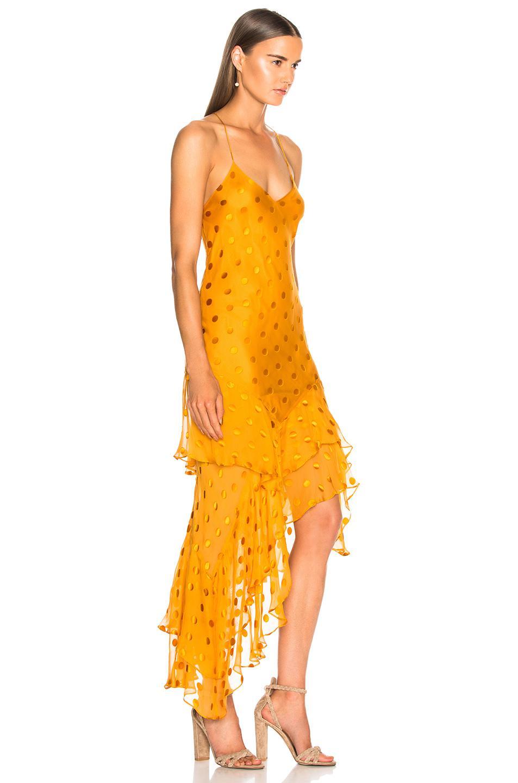 63efe2ea98 Michelle Mason Ruffle Cami Dress in Orange - Lyst
