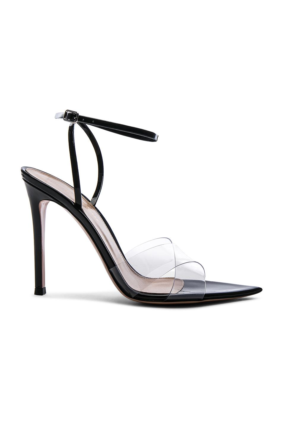 Gianvito Rossi Leather & Plexi Stark Ankle Strap Sandals in Neutrals. kwxXKYh3