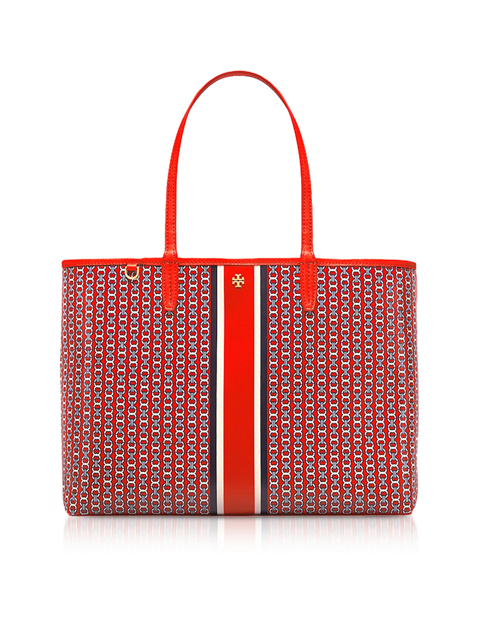 a378059d7 Tory Burch Exotic Red Gemini Link Stripe Canvas Tote Bag in Red - Lyst