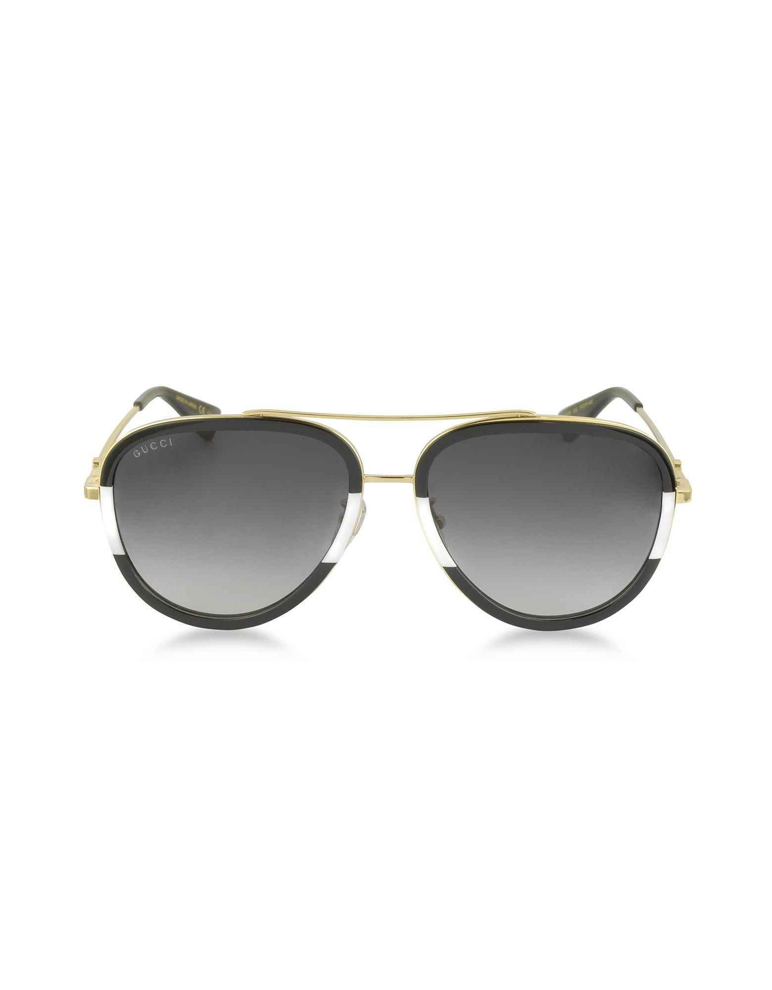6a61417d8dc47 Gucci - Metallic GG0062S 006 Black white Acetate And Gold Metal Aviator  Women s Sunglasses -. View fullscreen