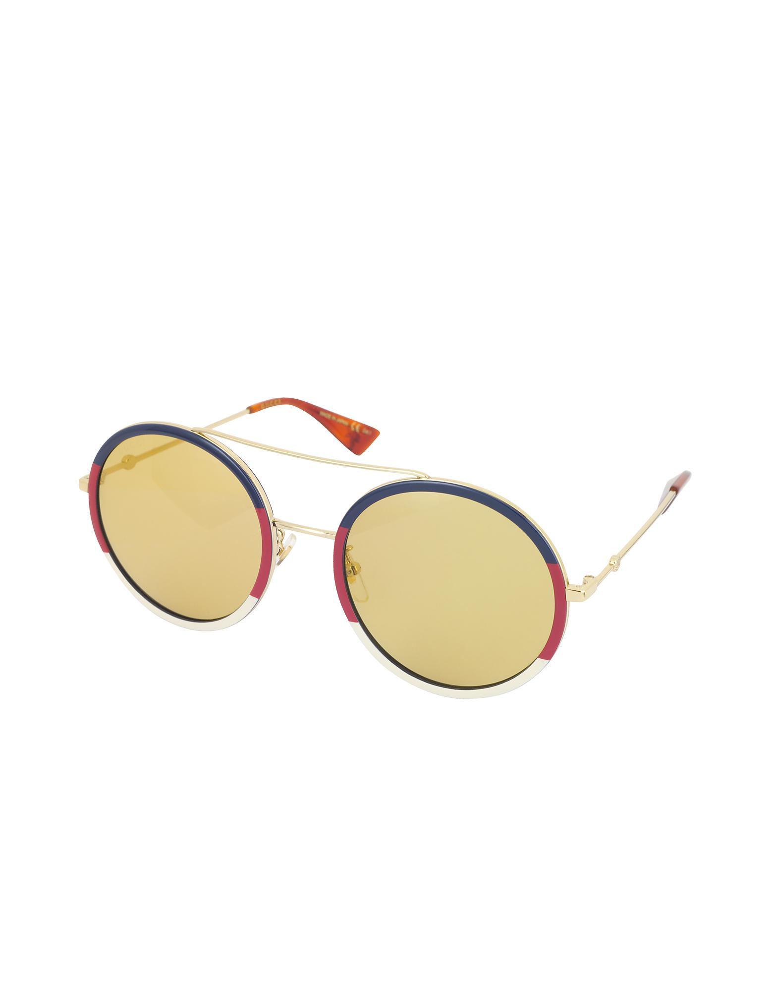 75b40d0e246 Gucci GG0061S Round-frame Metal Sunglasses W sylvie Web Trim in Blue - Lyst
