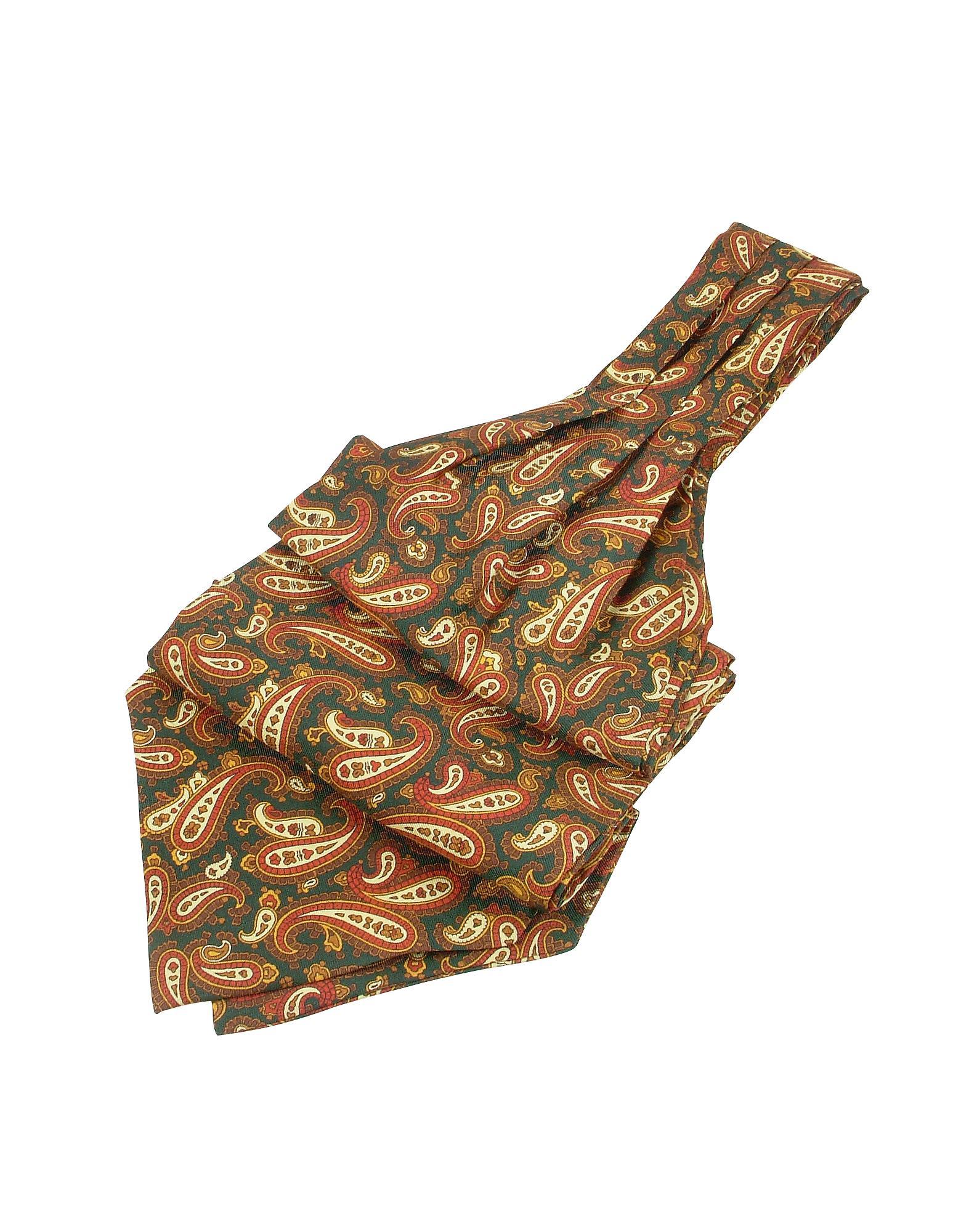 b96a53a2200b Forzieri - Green Paisley Print Twill Silk Ascot for Men - Lyst. View  fullscreen