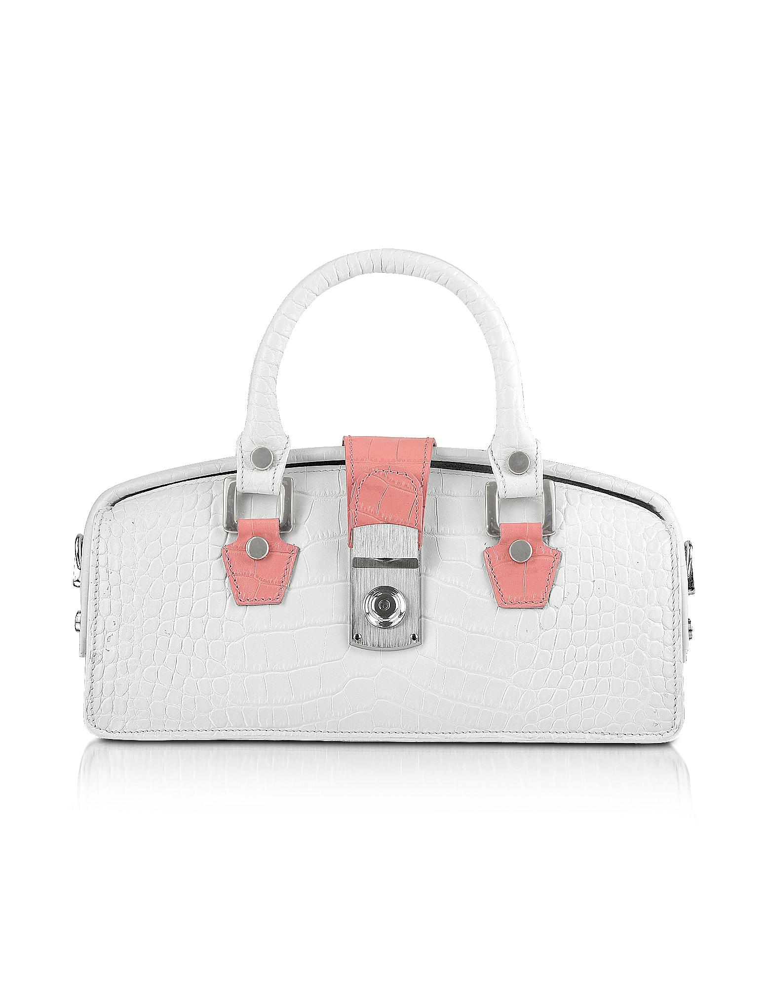 L.A.P.A. Handbags, Ivory Croco-embossed Leather Clutch