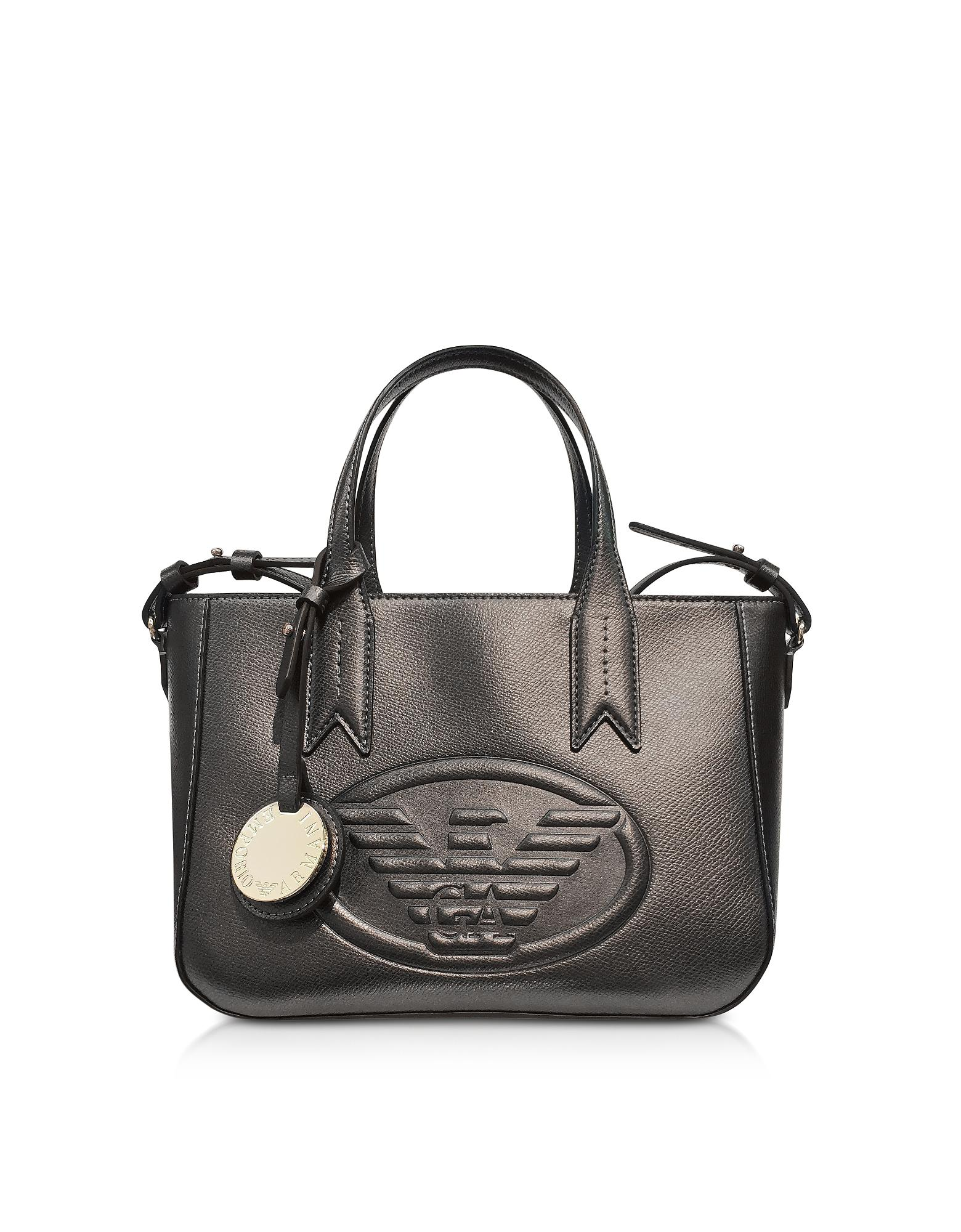 be1a82e93878 Emporio Armani Dark Gray steel Embossed Eagle Small Tote Bag in Gray ...