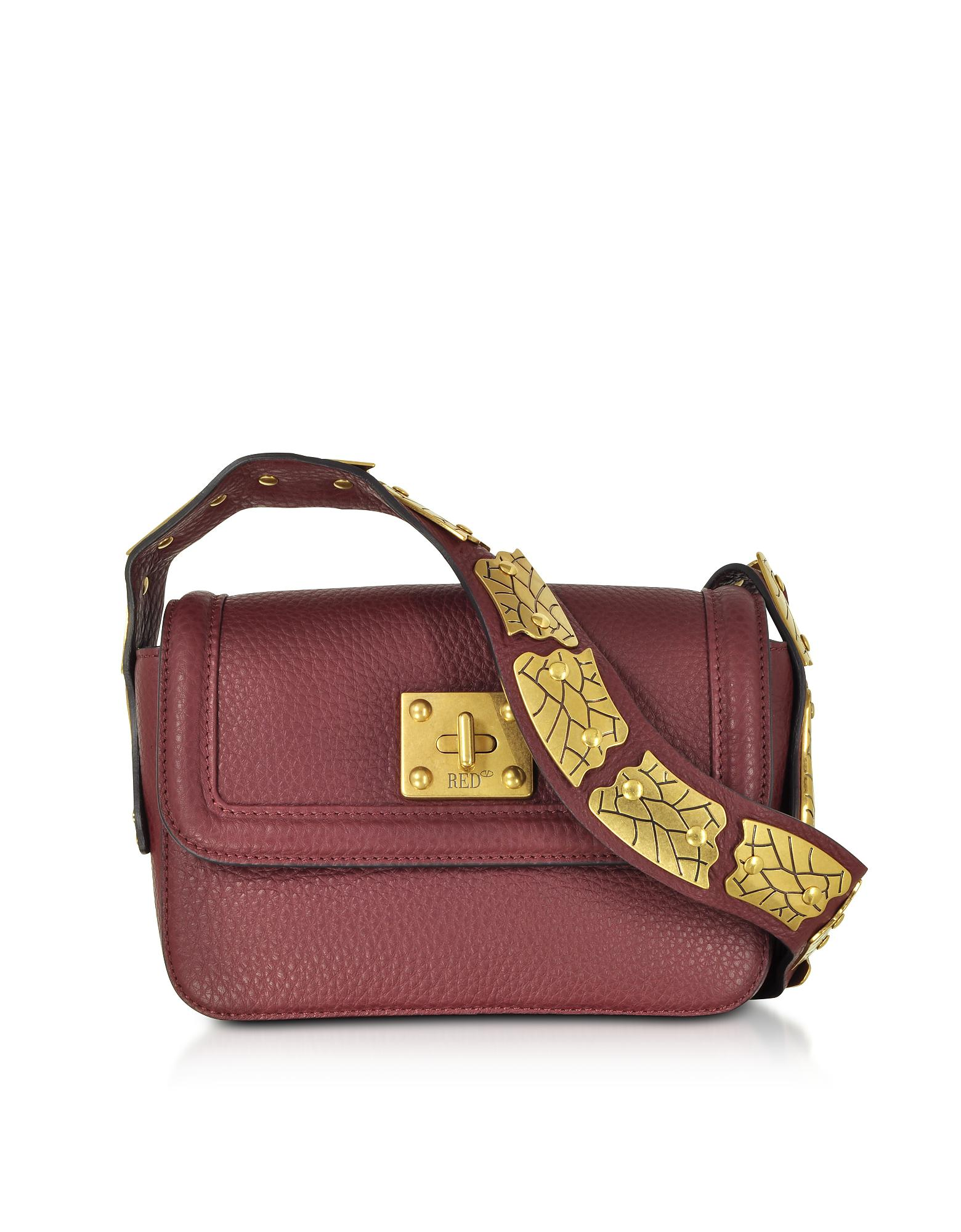 91ddca51aa9 Red Valentino Wine Pebble Leather Crossbody Bag in Red - Lyst