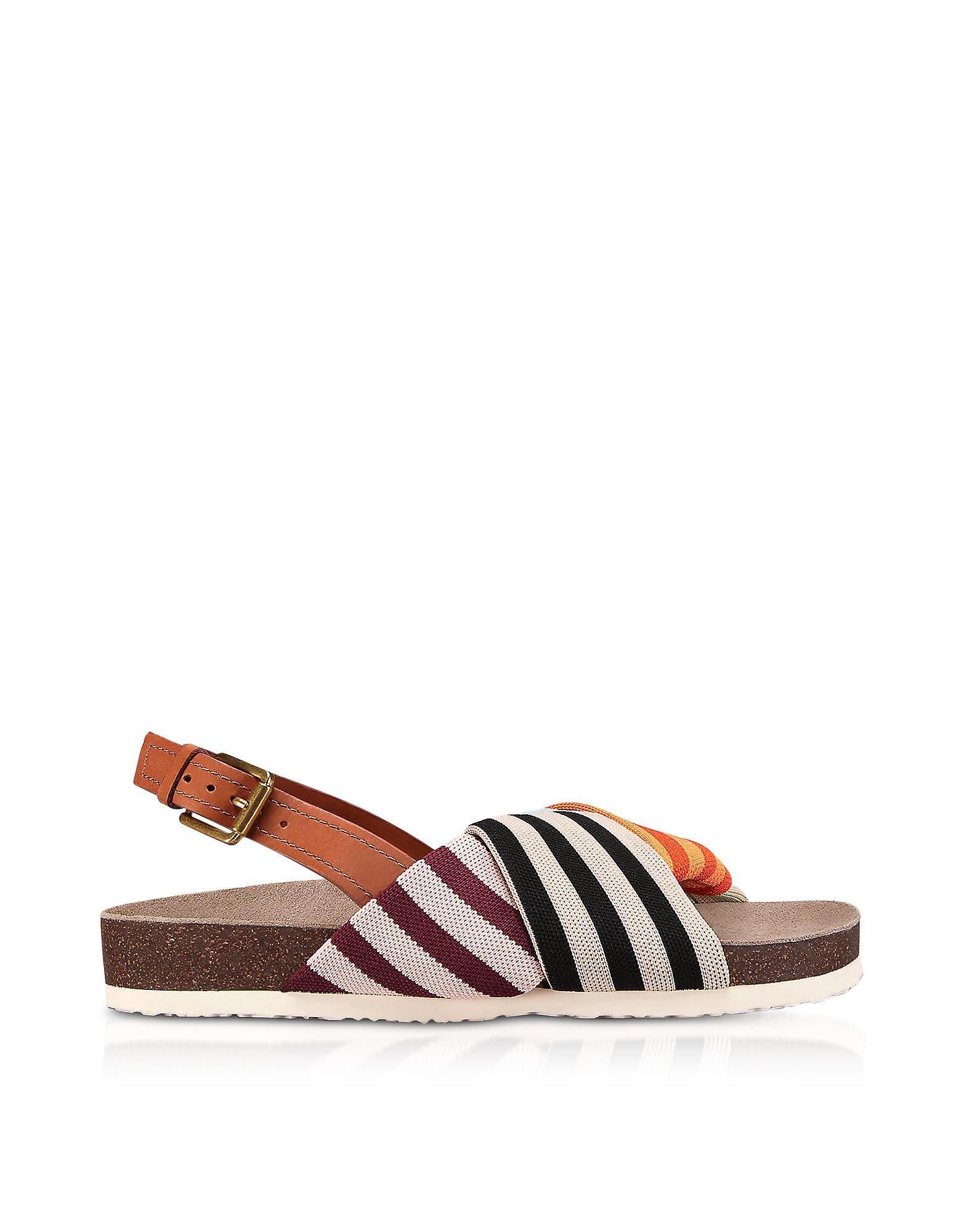 Sale Footlocker Finishline Tory Burch Corey Multi Patchwork Stripe Tech Knit Fabric And Leather Flatform Sandals New Styles vXf2hH4wj