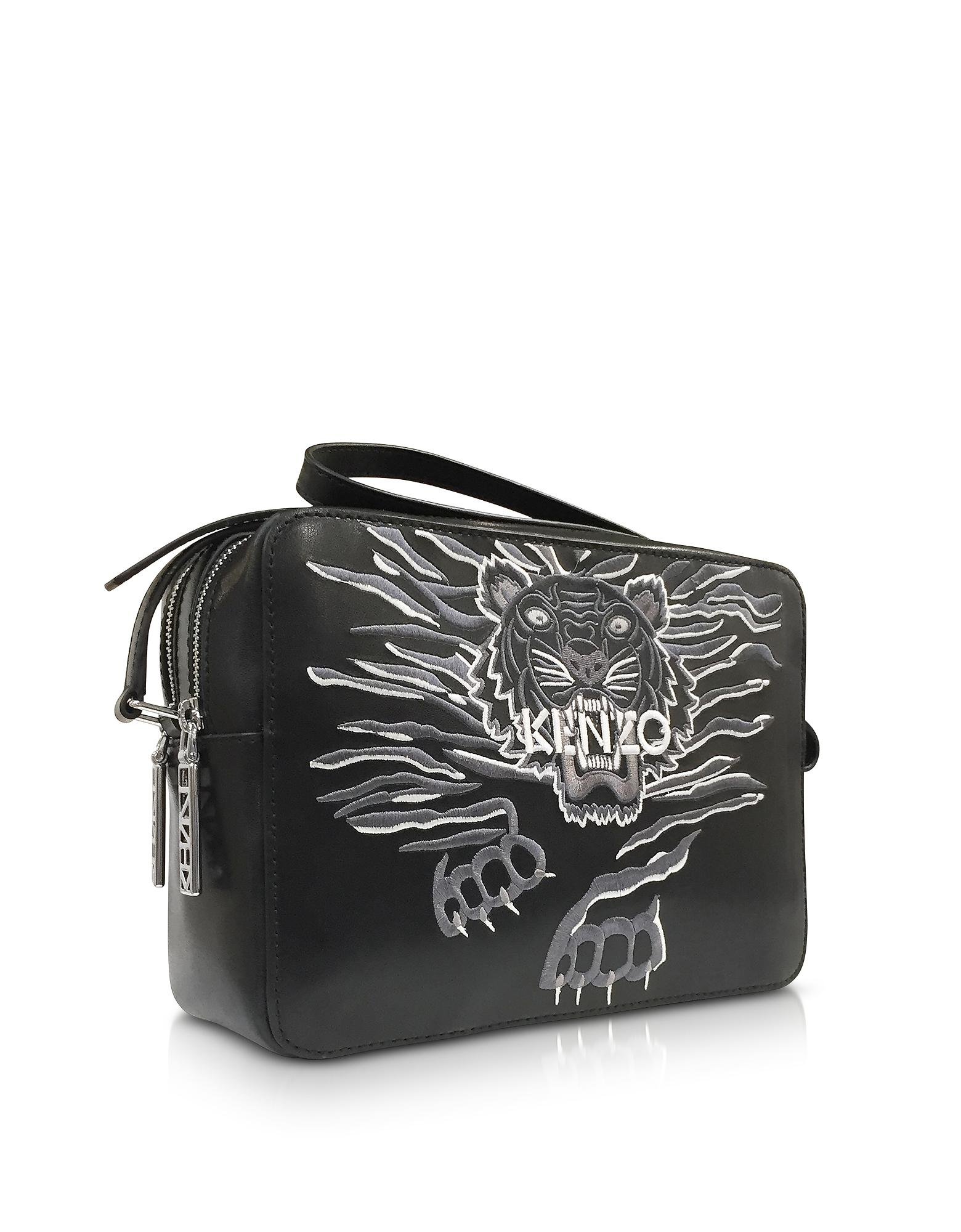 0f05c303be2b KENZO Black Leather Large Geo Tiger Crossbody Bag in Black - Lyst