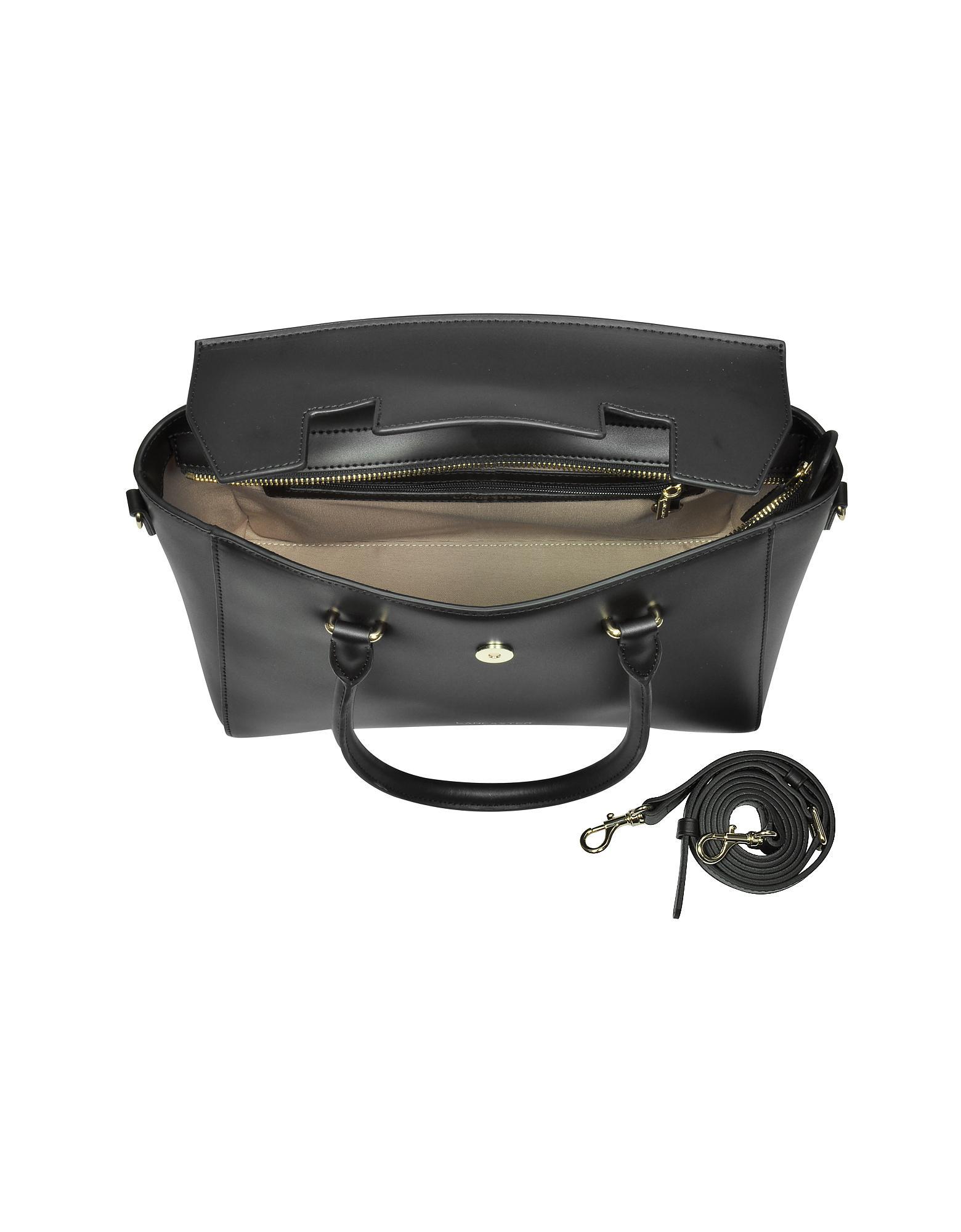 780bf329b997 Lancaster Paris - Black Camelia Leather Tote Bag W detachable Shoulder  Strap - Lyst. View fullscreen
