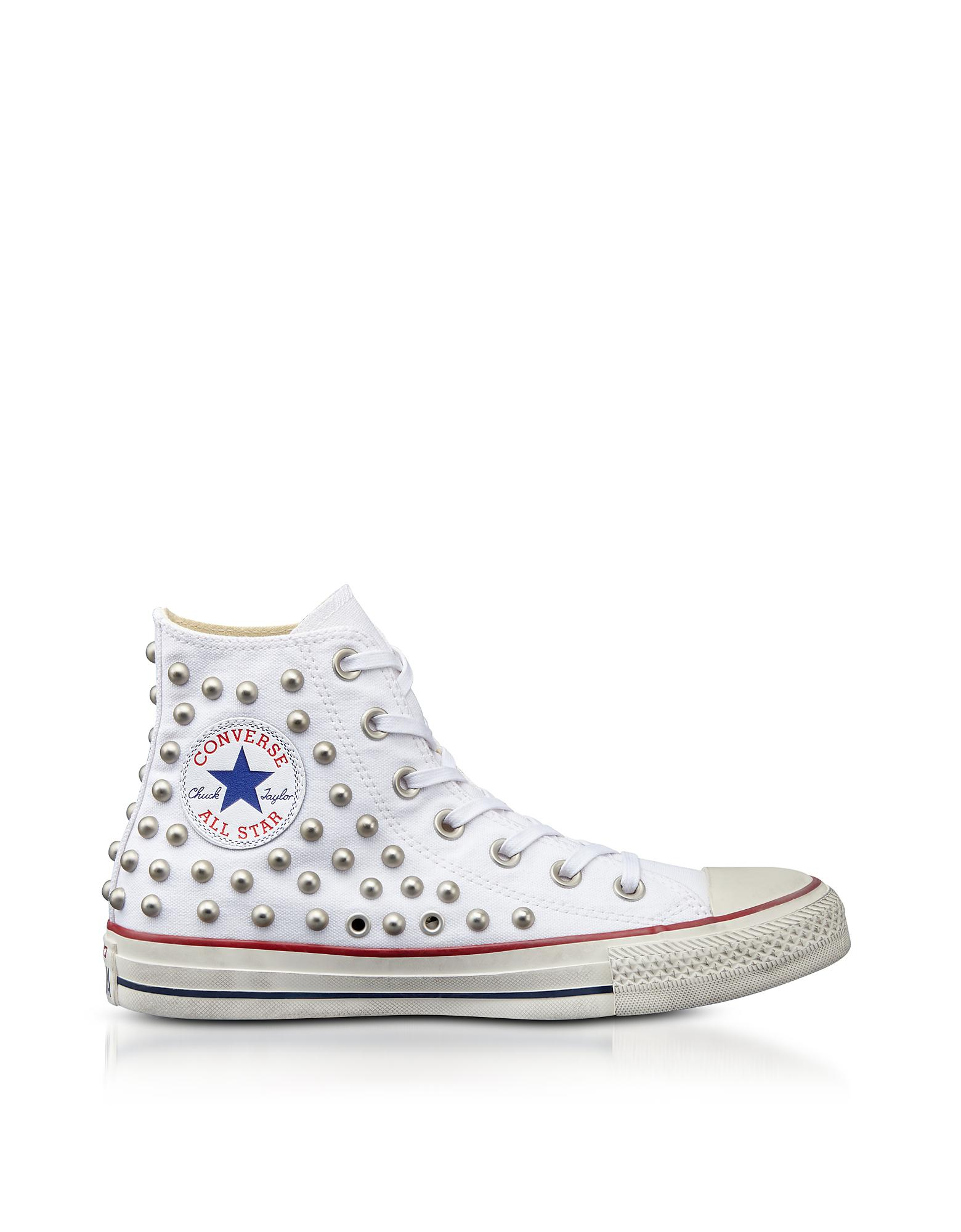 d3ae53b33f50 Lyst - Converse Chuck Taylor All Star High White Studded Canvas ...