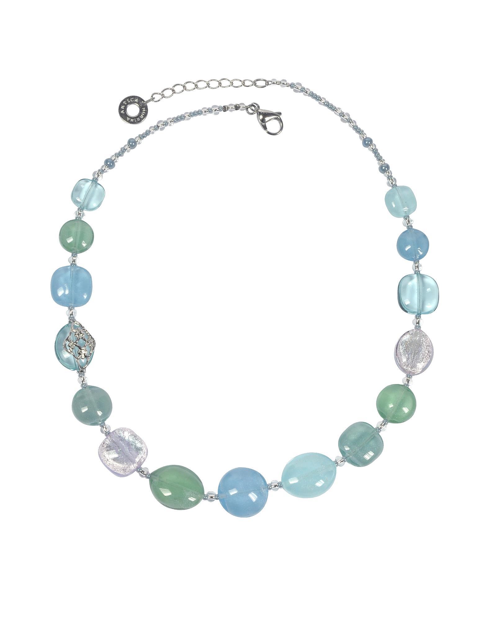 f7a0ecd6eaf4 Florinda Collar con Abaloris Azules y Verdes de Cristal de Murano ...