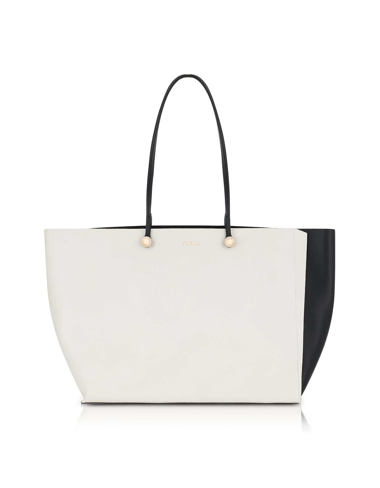 a4fd3465a5fdc3 Furla Petalo And Onyx Leather Eden Medium Tote Bag in White - Lyst