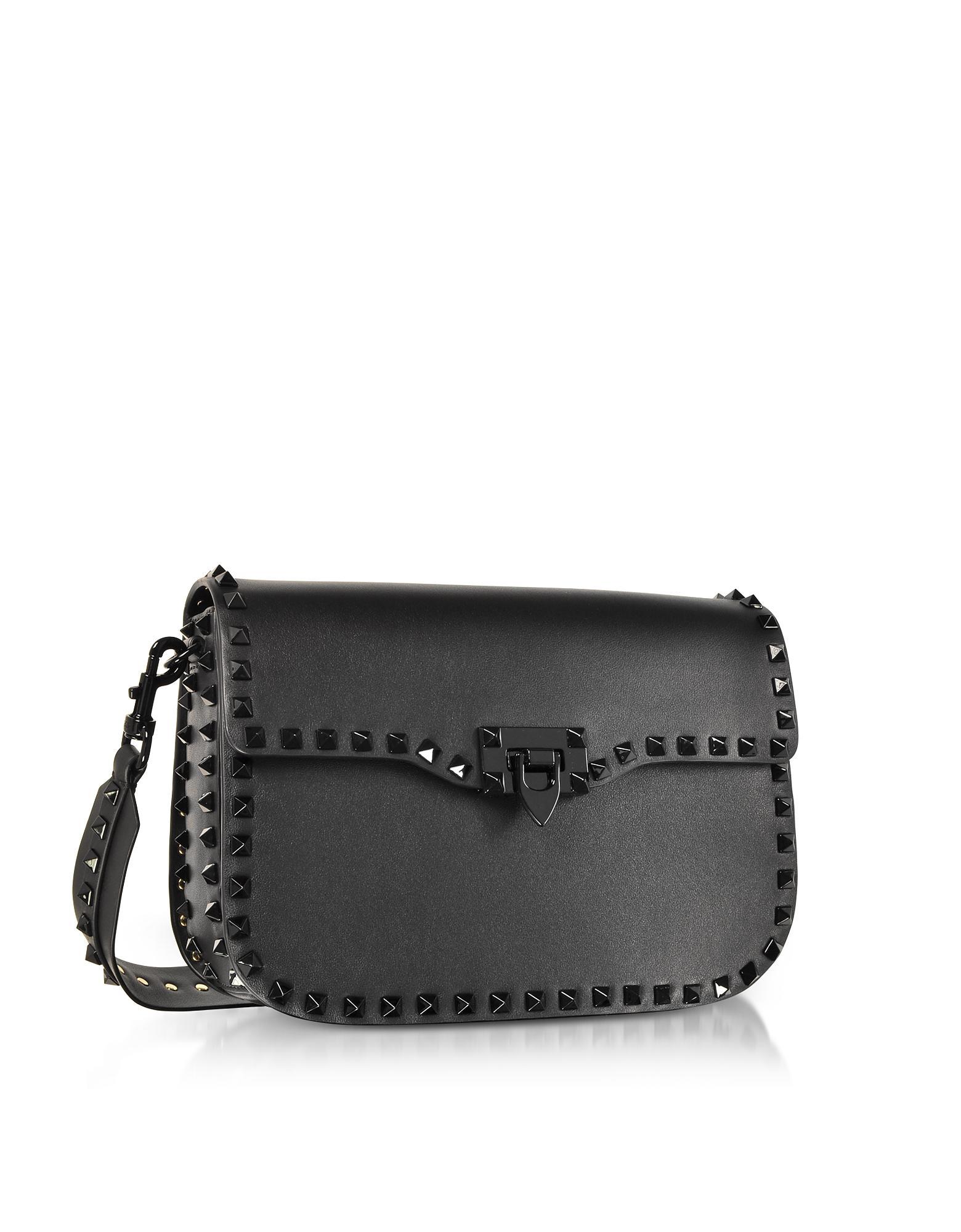 472ef081f1a6 Lyst - Valentino Black Rockstud Shoulder Strap Bag in Black