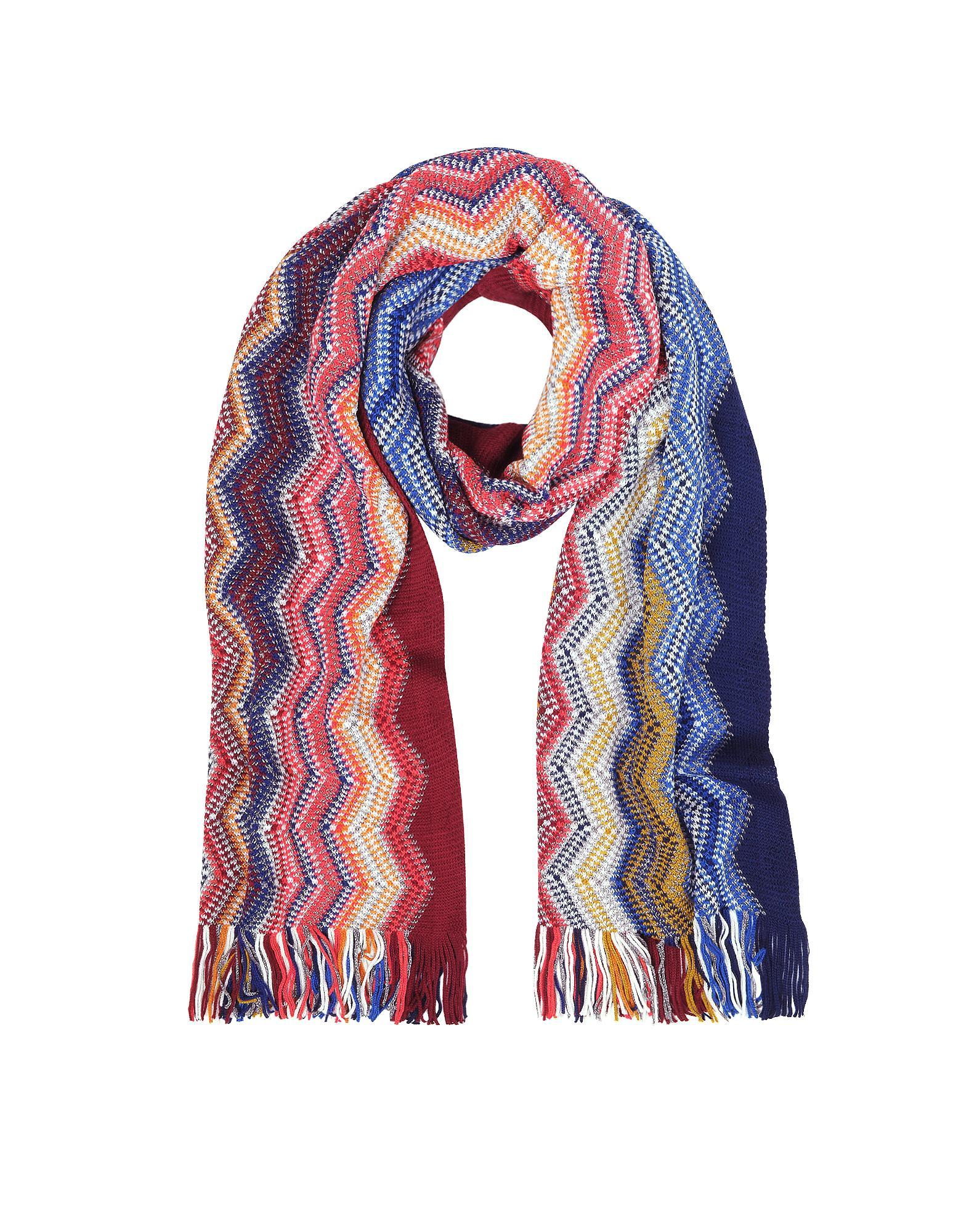 860df5a0f Lyst - Missoni Blue/multicolor Large Zig Zag Acrylic And Wool Lurex ...
