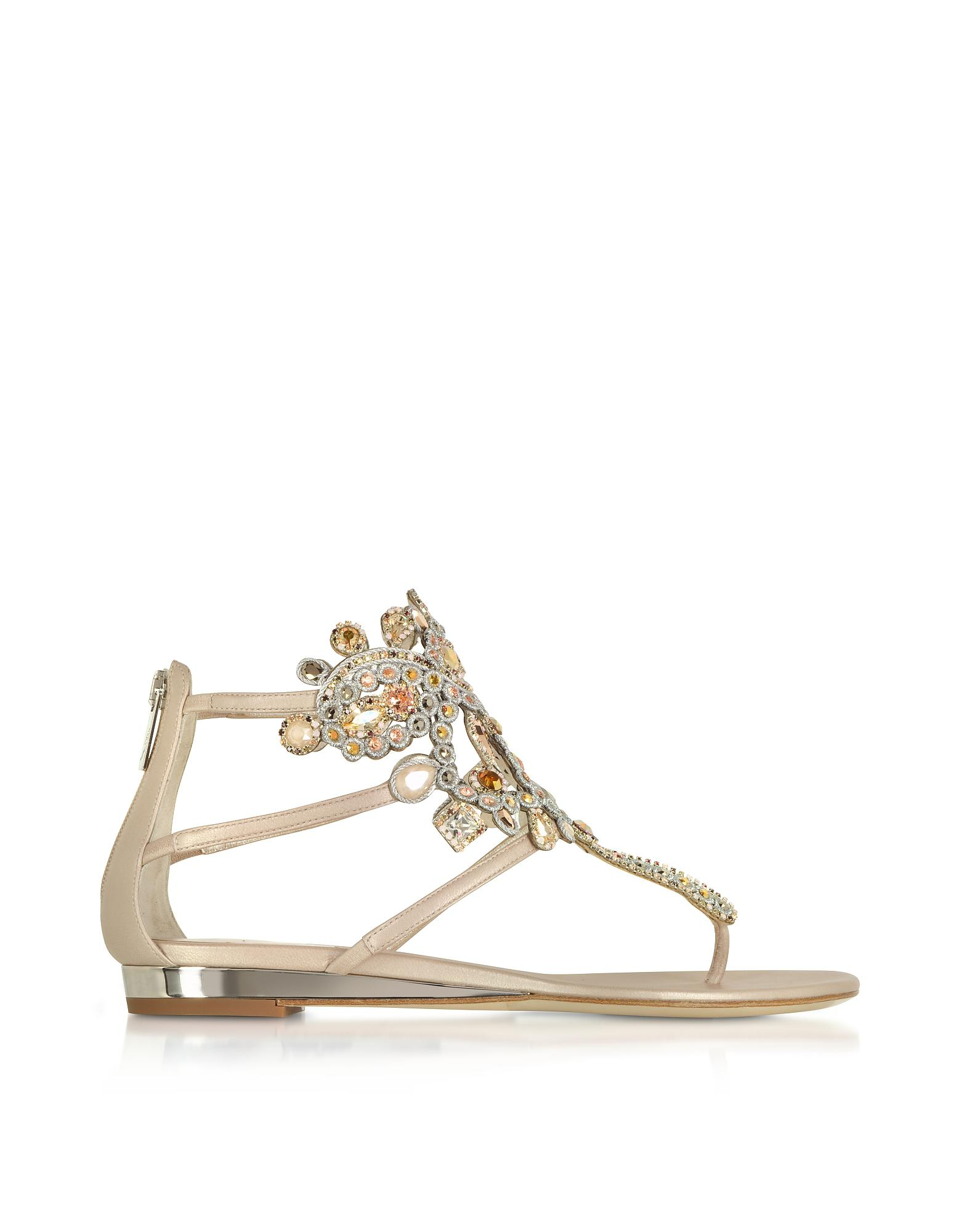 b1e180869f8963 Rene Caovilla Light Gold ivory Cream Leather Flat Sandals W crystals ...