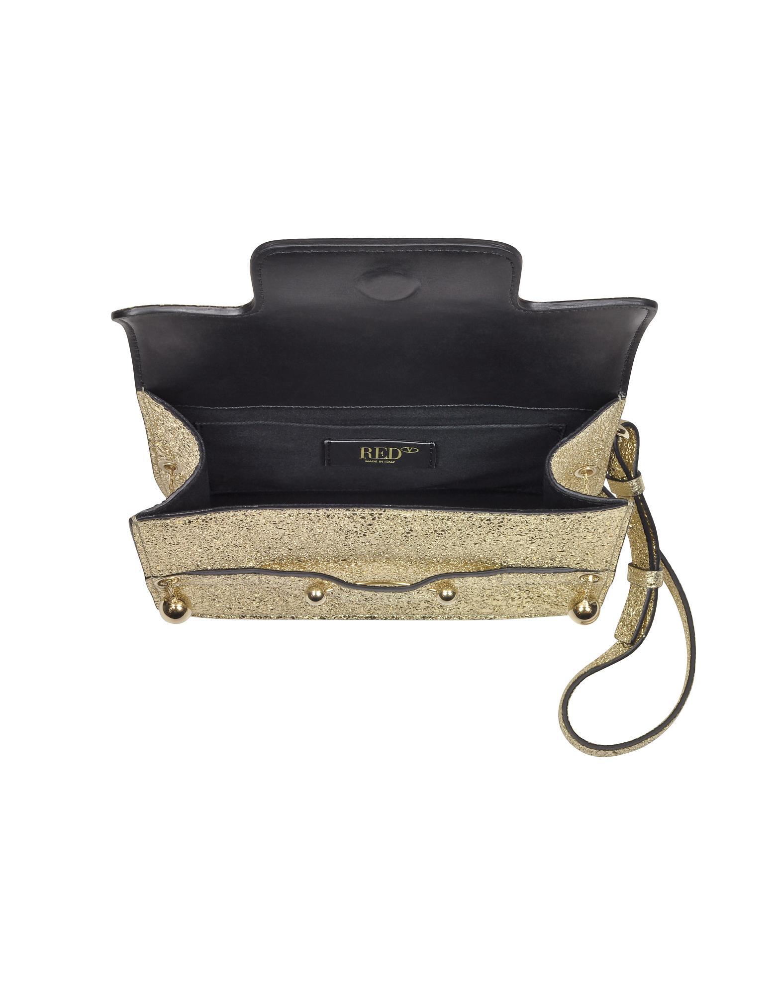 RED Valentino - Platinum Crackled Metallic Leather Flap Top Crossbody Bag -  Lyst. View fullscreen ad7cb5e48692e