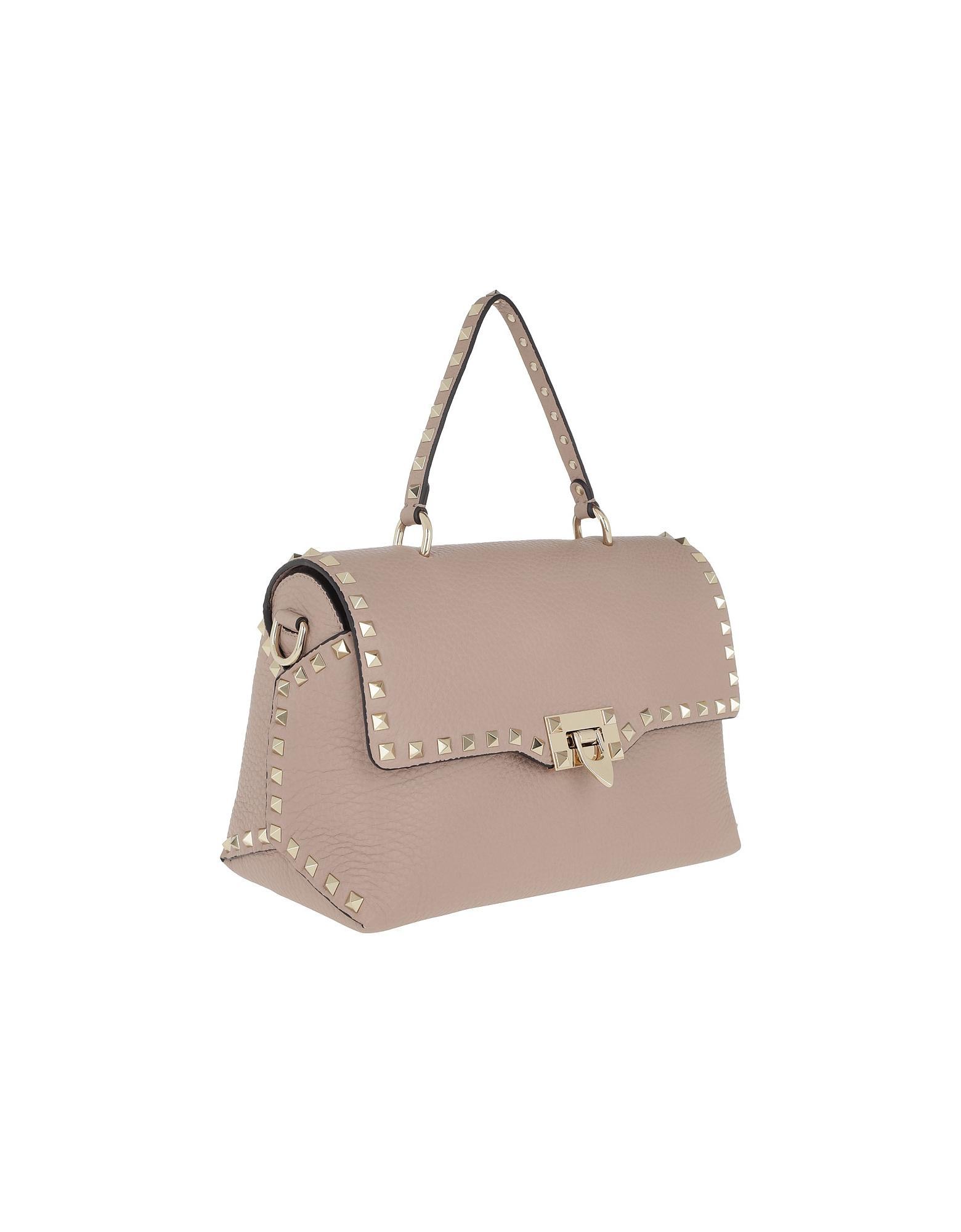 6160ccc8d006 Lyst - Valentino Rockstud Shopper Leather Poudre in Pink