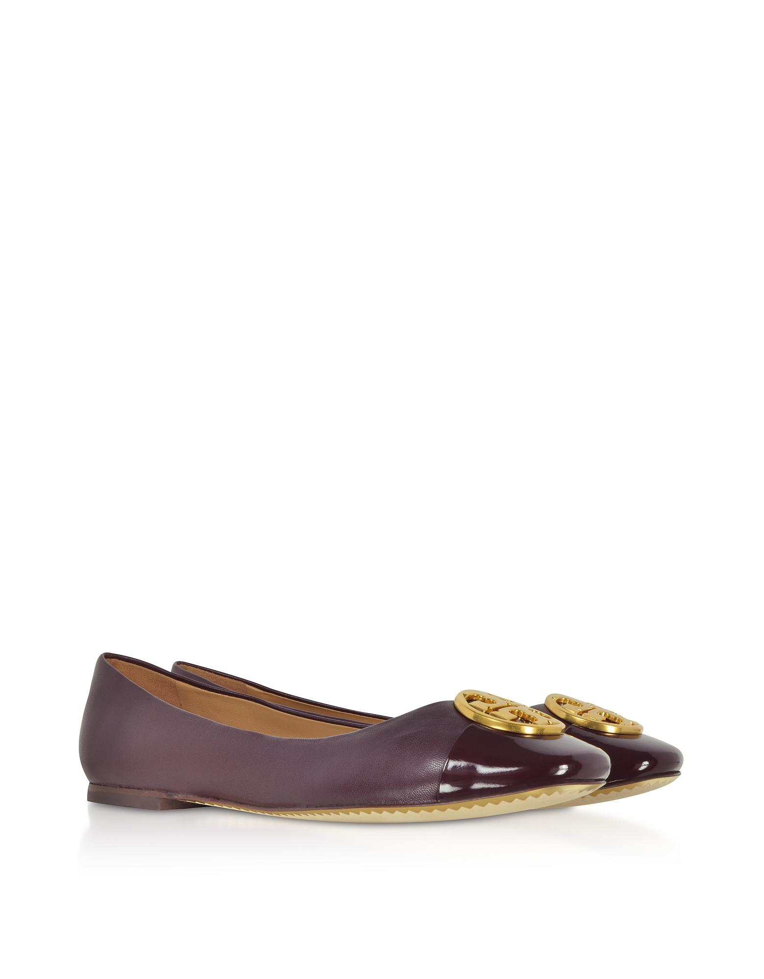 a89776bf6 Lyst - Tory Burch Burgundy Nappa   Patent Leather Chelsea Cap-toe ...
