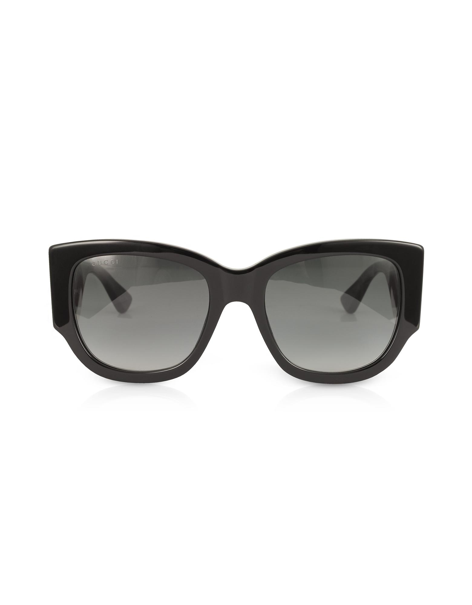 5d7ad9a198004 Gucci - GG0276S Black Oversize Cat Eye Acetate Sunglasses W sylvie Web  Temples - Lyst. View fullscreen