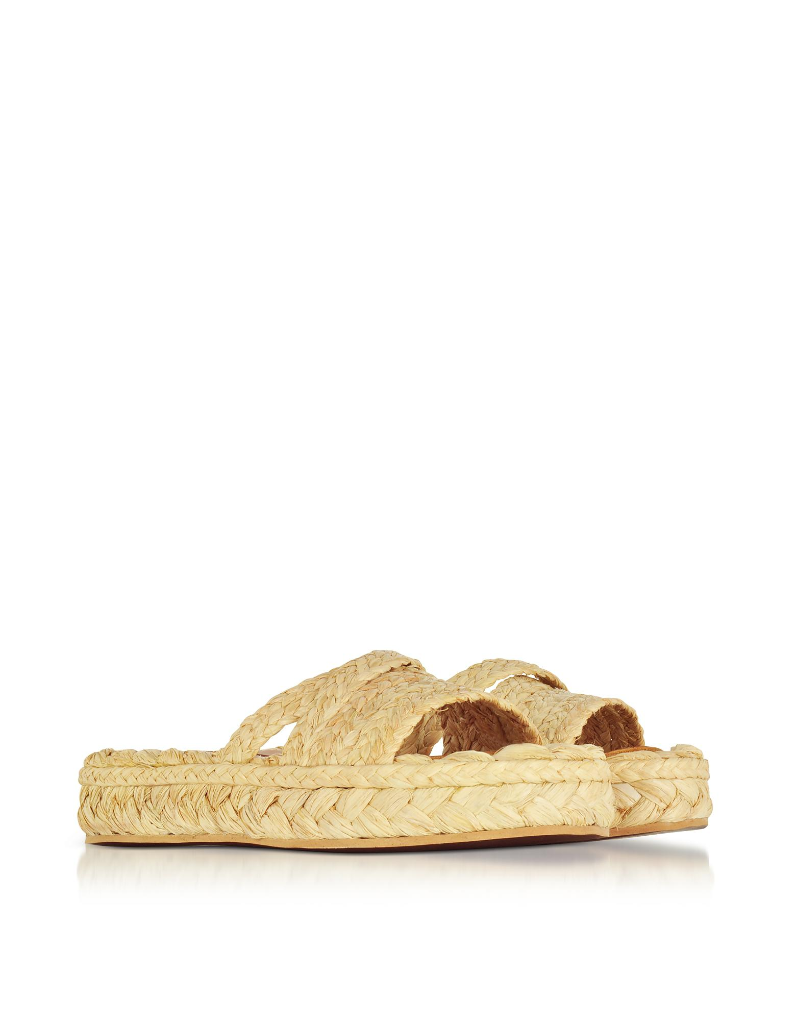 3471da7fd842 Lyst - Robert Clergerie Idalie Natural Braided Raffia Flat Sandals ...