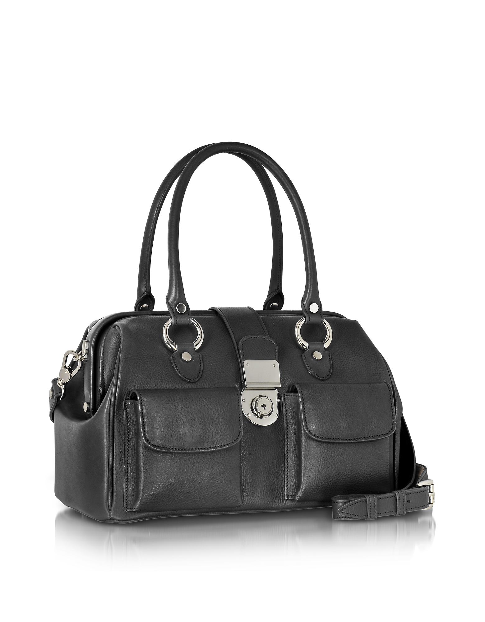 a6253bf9f408 L.A.P.A. Front Pocket Calf Leather Doctor-style Handbag in Black - Save  35.01483679525222% - Lyst