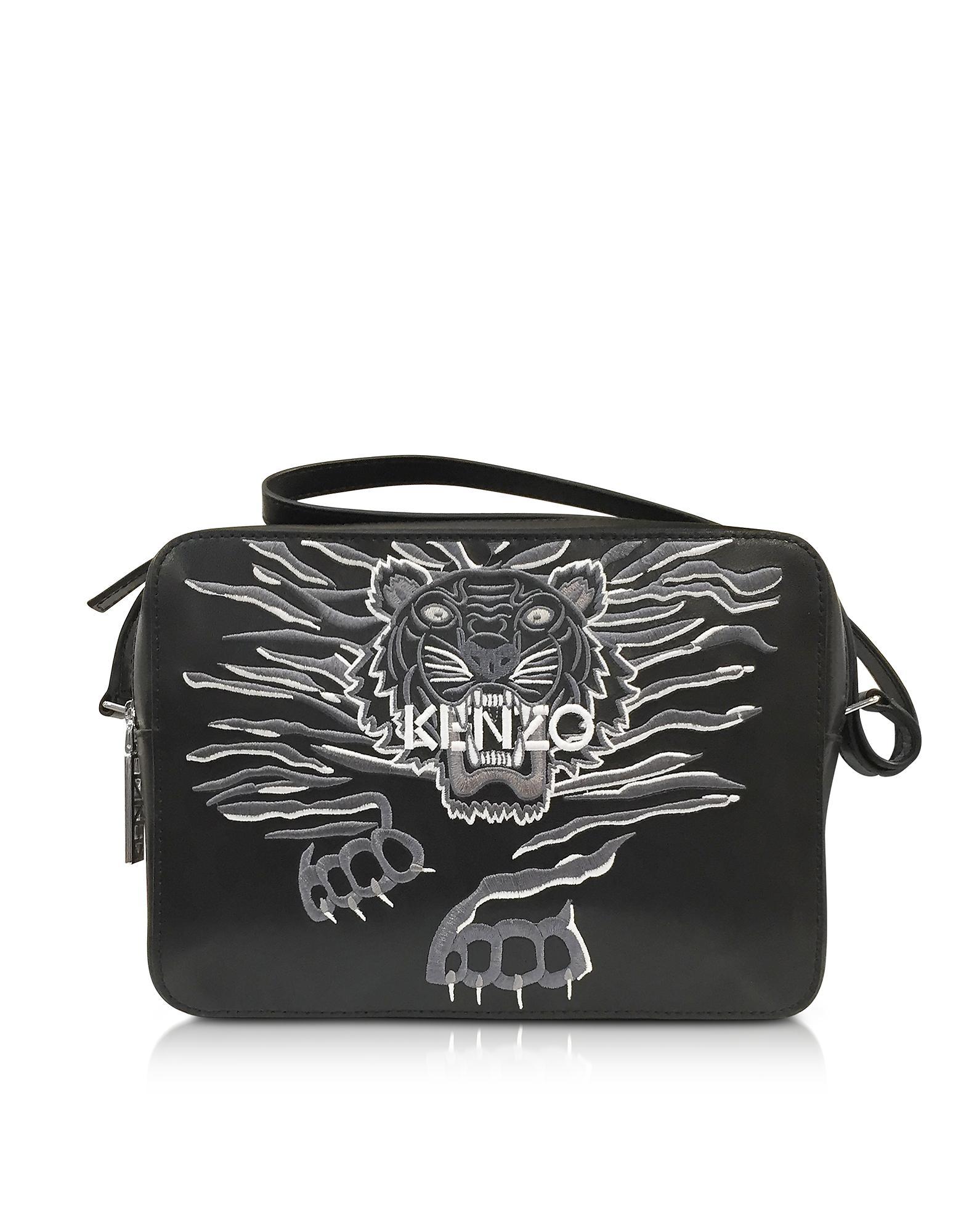 8b46f09f6d61 KENZO Black Leather Large Geo Tiger Crossbody Bag in Black - Lyst