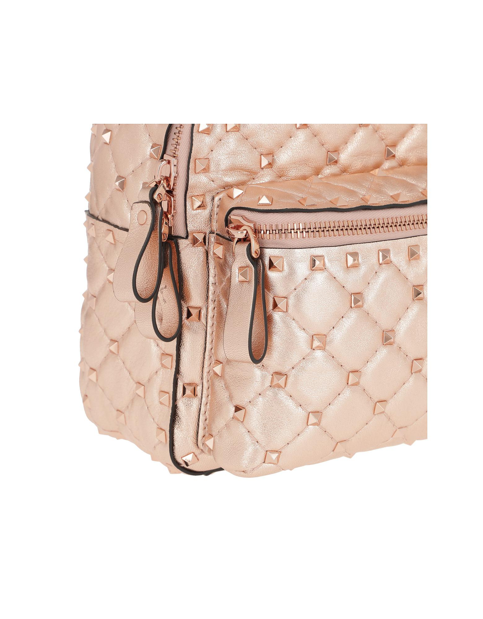 8b8da283ac64 Lyst - Valentino Rocksutd Spike Backpack Leather Beige in Pink