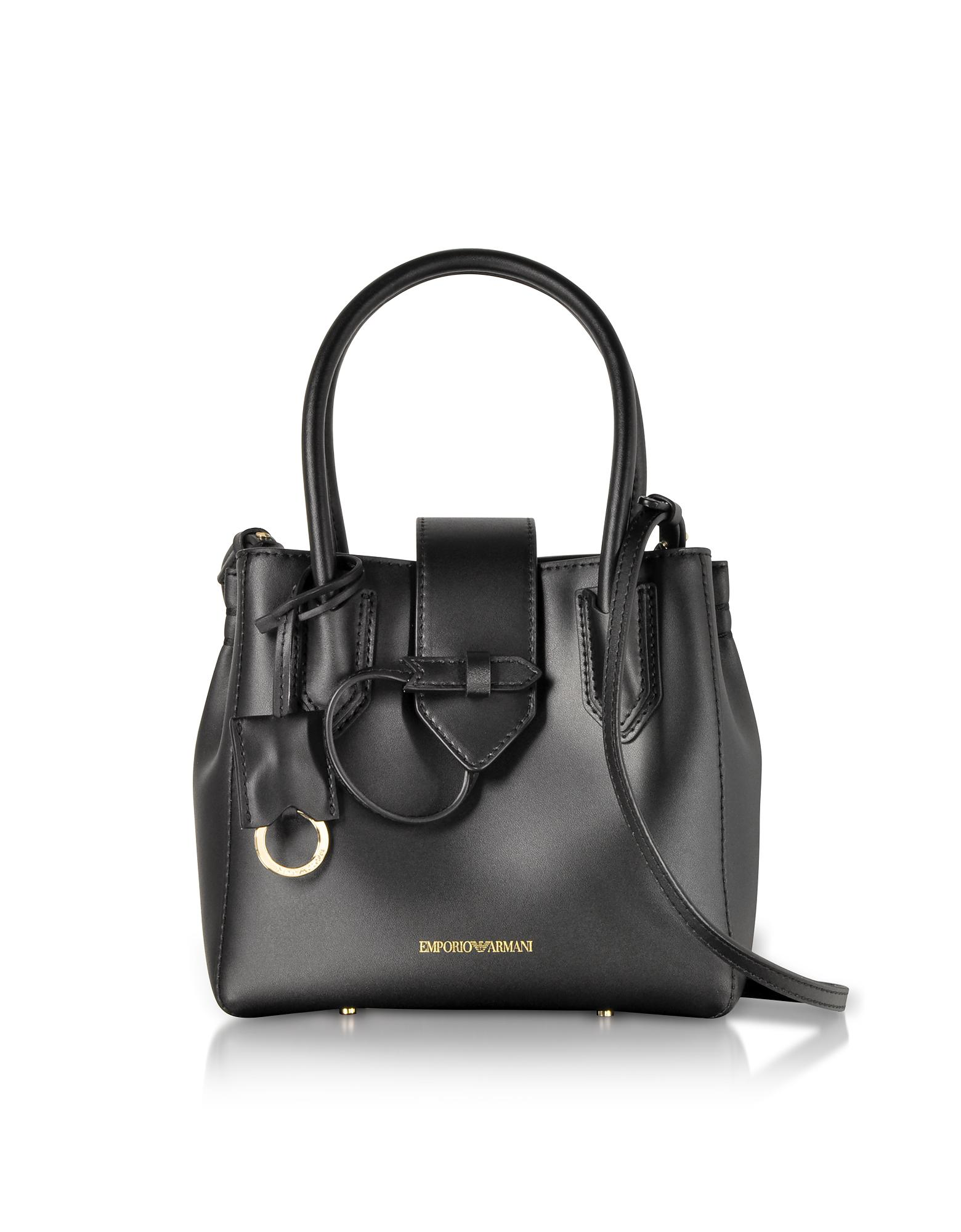 a41049199521 Lyst - Emporio Armani Genuine Leather Satchel Bag in Black