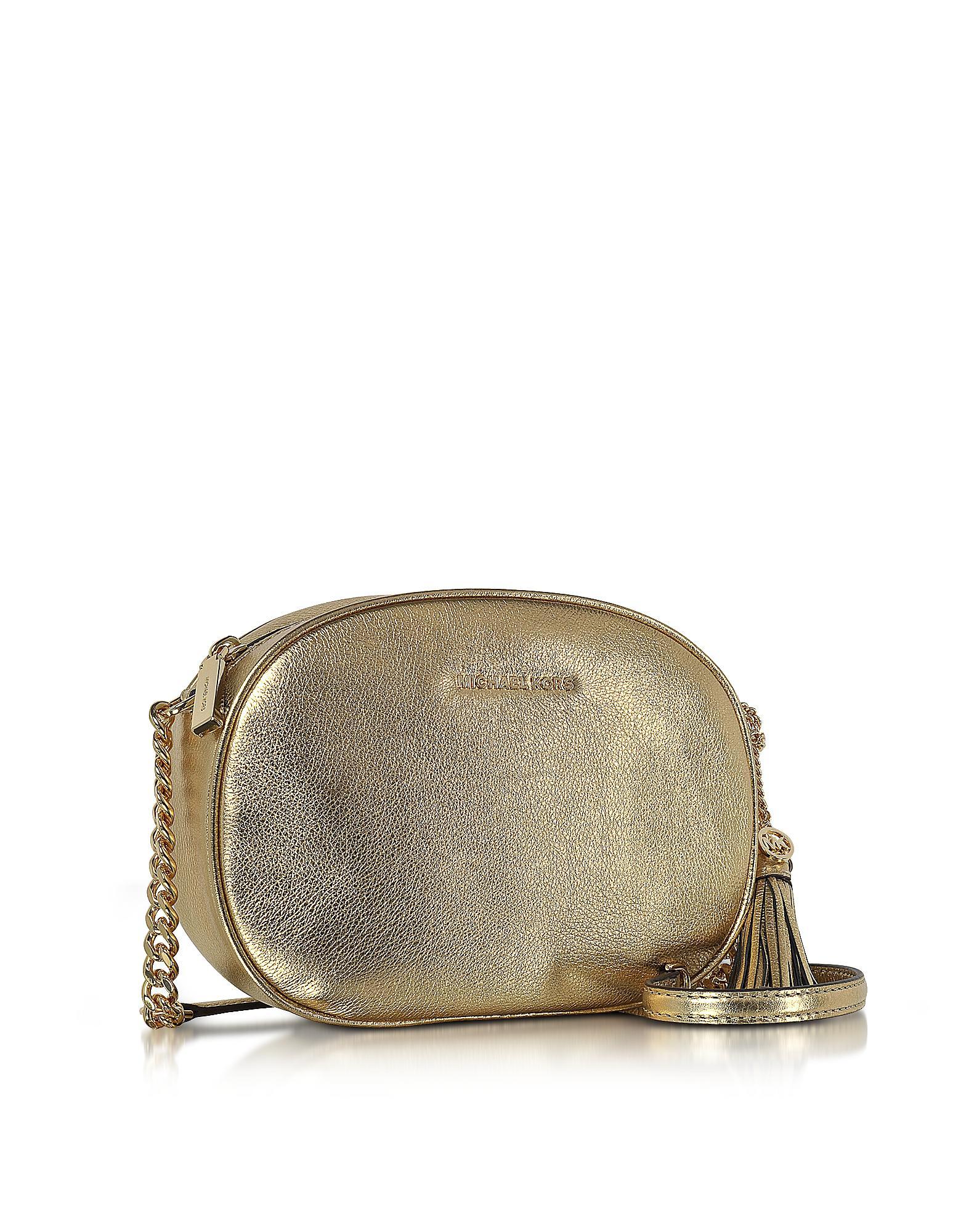 3e3afc64b32c Lyst - Michael Kors Ginny Pale Gold Pebble Leather Medium Messenger ...