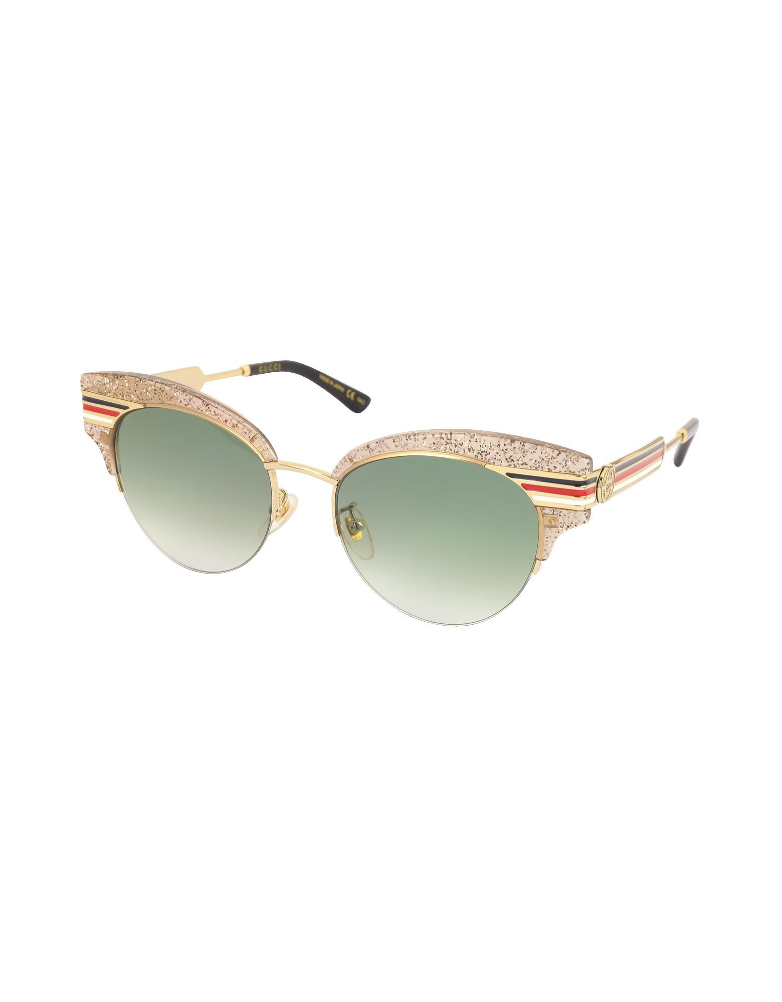b8867b61a27cf Gucci GG0283S Cat Eye Beige Glitter Acetate Sunglasses W sylvie Web ...