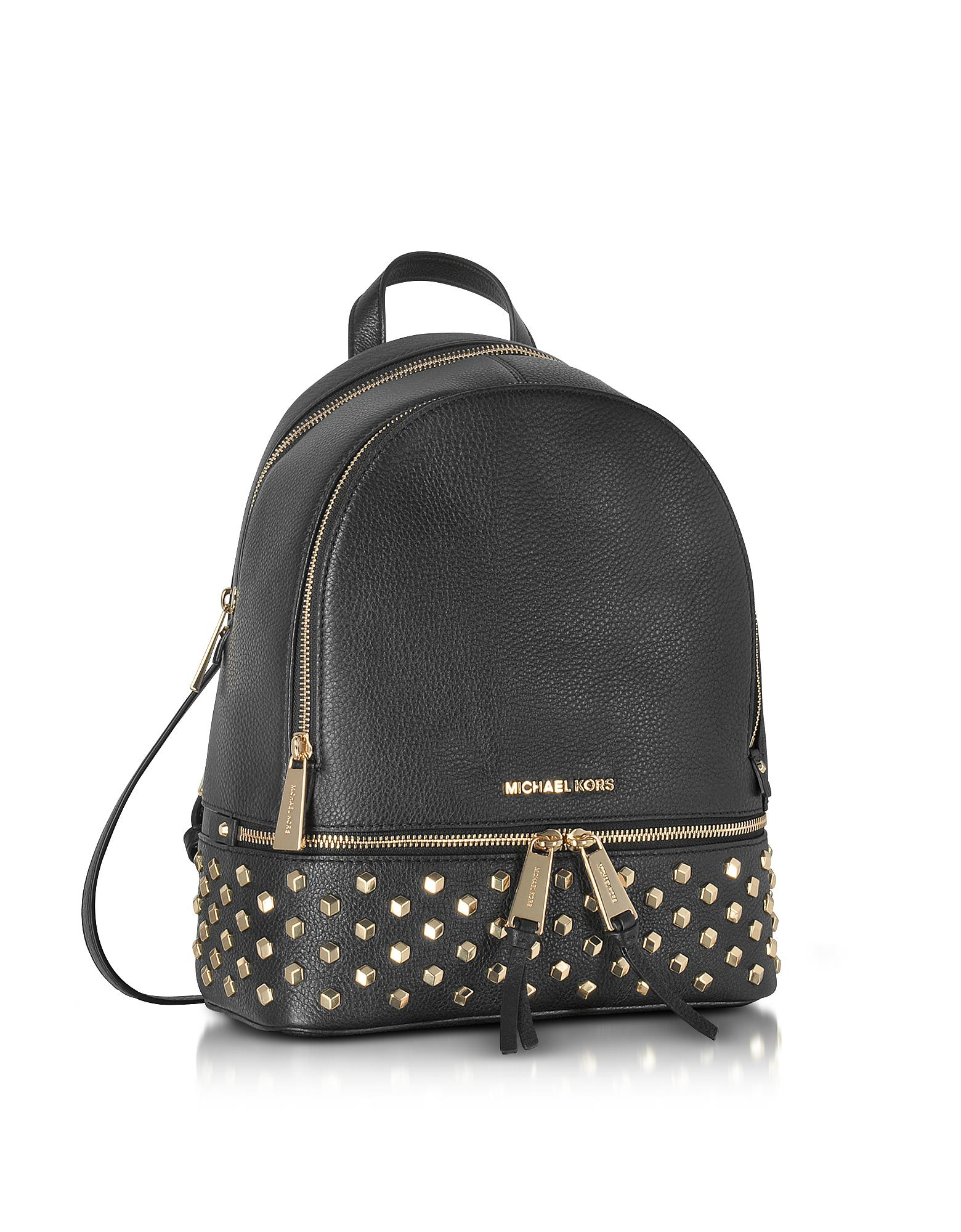 741c232536490 Lyst - Michael Kors Rhea Zip Black Leather Medium Backpack W studs ...