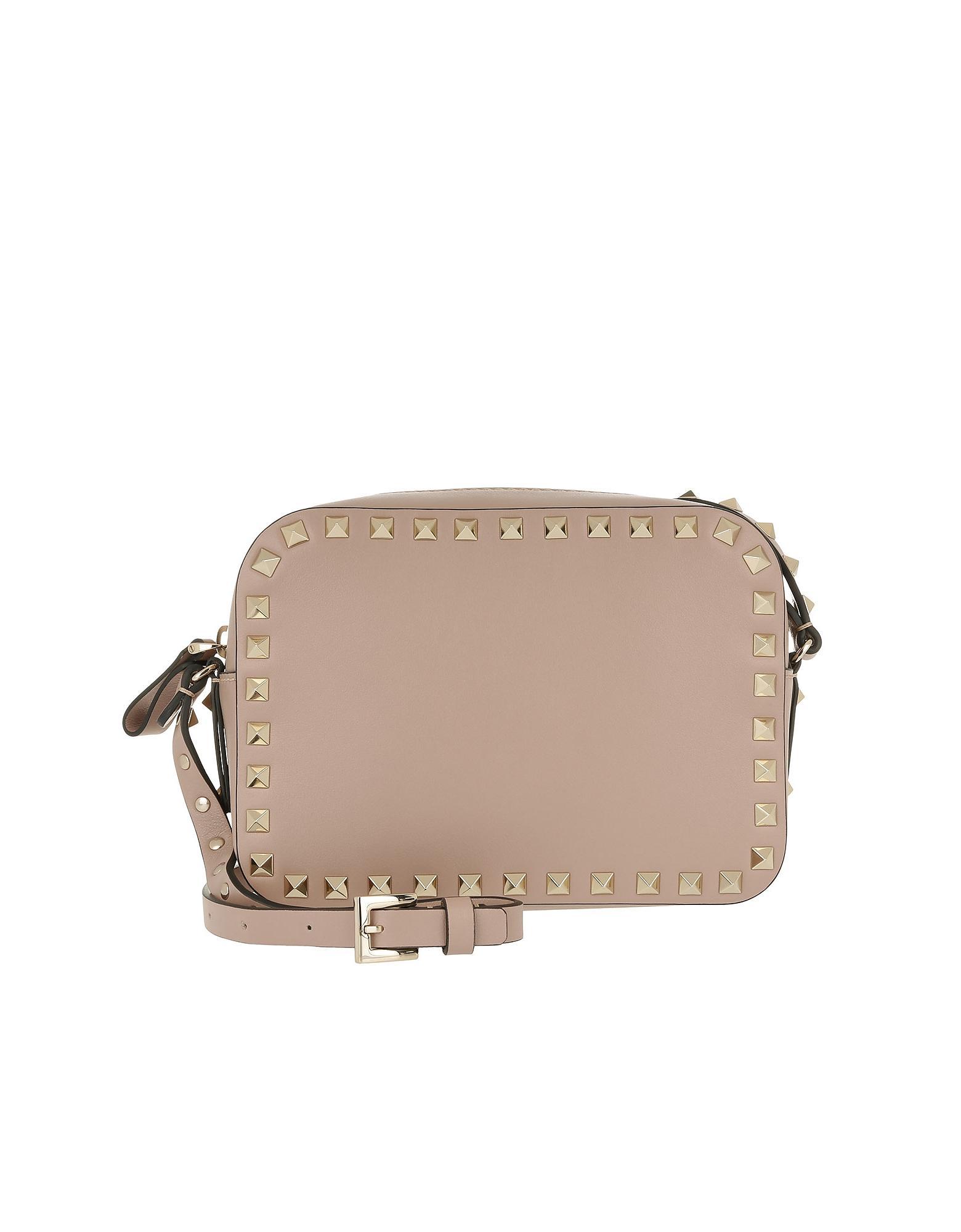 f395c71bd382 Lyst - Valentino Rockstud Camera Crossbody Bag Poudre in Pink