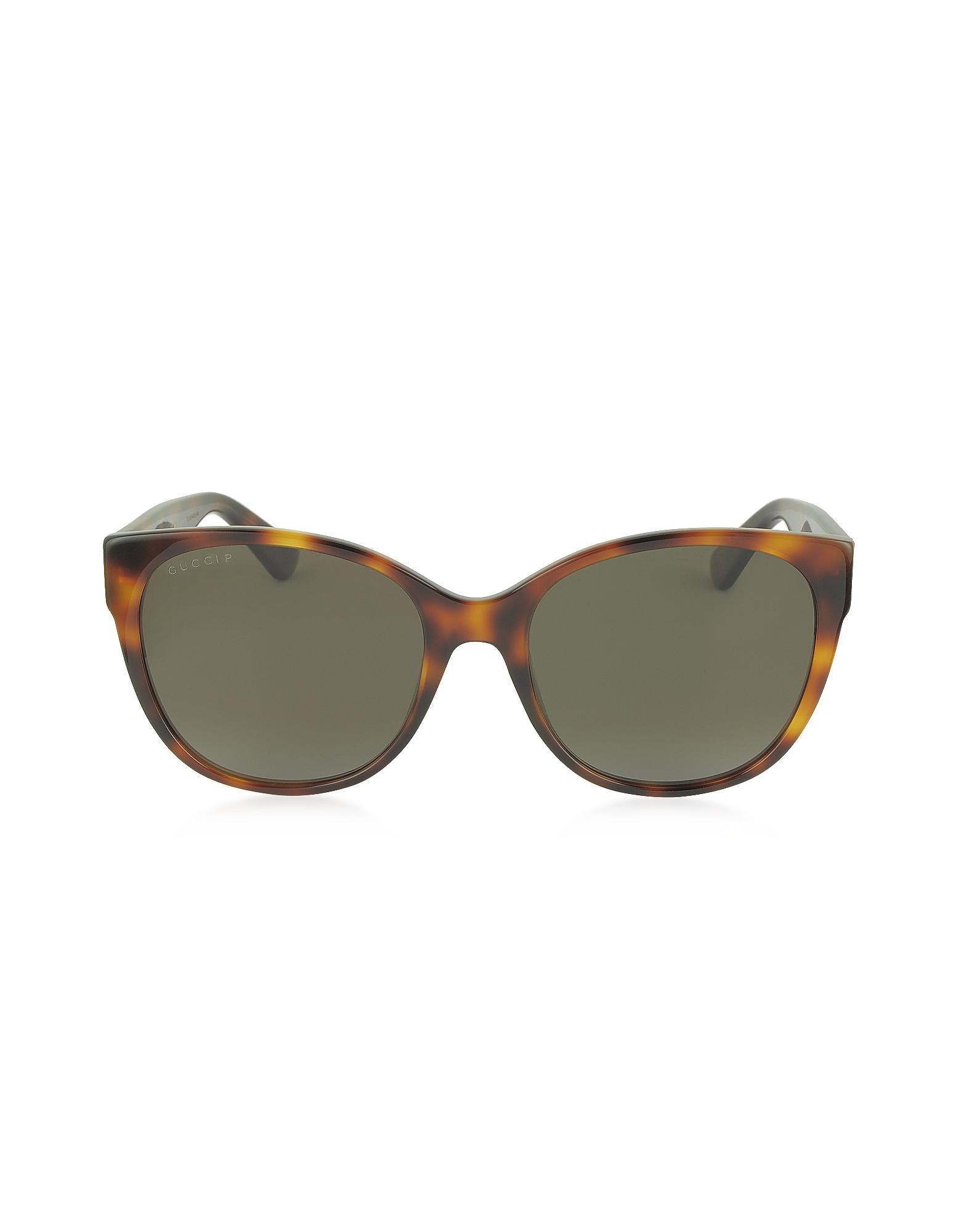 37ccc973747a9e Gucci. Yellow GG0097S 006 Havana Acetate Cat Eye Women s Polarized  Sunglasses
